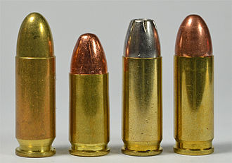 9×23mm Winchester - Left to right: 9×23mm Largo, the 9×19mm Parabellum, 9×23mm Winchester, and 9×23mm Steyr. Although dimensionally nearly identical, the cartridge case walls of the 9×23mm largo are not thick enough to handle the higher pressure of the 9×23mm Winchester.