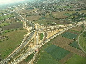 The A1(M) and M62 junction at Ferrybridge, West Yorkshire A1(M) and M62 interchange.jpg