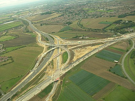 Junction 32a during construction in September 2005 A1(M) and M62 interchange.jpg