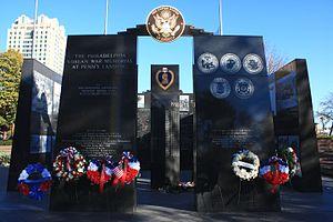 Philadelphia Korean War Memorial - The memorial's western facade with Veterans Day wreaths