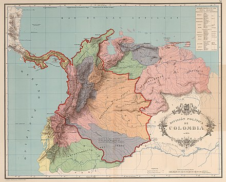 Map of the former Gran Colombia in 1824 (named in its time as Colombia), the Gran Colombia covered all the colored region. AGHRC (1890) - Carta XI - Division politica de Colombia, 1824.jpg