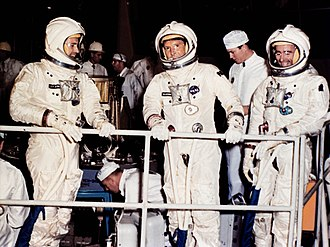 Canceled Apollo missions - The prime crew for the second planned Apollo manned flight prepares for mission simulator tests at the North American Aviation plant prior to the Apollo 1 fire. Left to right: Donn F. Eisele, Senior Pilot, Walter M. Schirra, Command Pilot, and Walter Cunningham, Pilot. (September 1966).