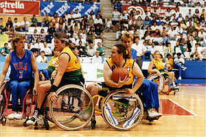 Australia women's national wheelchair basketball team - Gliders playing the United States at the 1992 Barcelona Paralympics