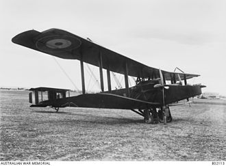 Battle of Megiddo (1918) - A side view of the Handley–Page 0/400 of No. 1 Squadron, Australian Flying Corps frequently piloted by Captain Ross Macpherson Smith