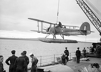 Fairey Swordfish - A Fairey Swordfish floatplane being hoisted aboard the battleship HMS ''Malaya'' in October 1941