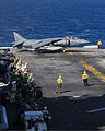 A U.S. Marine Corps AV-8B Harrier aircraft assigned to Marine Medium Tiltrotor Squadron (VMM) 266, 26th Marine Expeditionary Unit (MEU) prepares to take off from the flight deck of the amphibious assault ship 131101-M-SO289-013.jpg