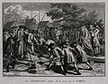 """A congregation of Jewish mourners performing the """"Acafoth"""" a Wellcome V0042320.jpg"""
