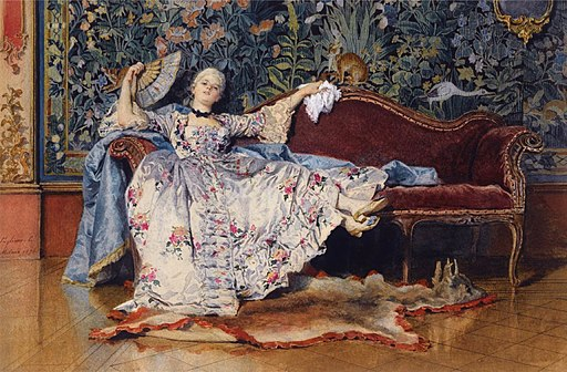 A reclining lady with a fan by Eleuterio Pagliani (1826-1903)