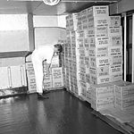 A storeroom containing boxes of Tetleys tea bags and Kelloggs Frosties, onboard Iberia (5075037362).jpg