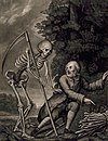 A woodcutter shows Death his pile of wood. Mezzotint. Wellcome V0042169.jpg