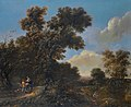 A wooded landscape with travellers on a sandy path, by Adriaen Hendricksz Verboom.jpg