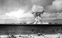 The airburst nuclear explosion of July 1, 1946. Photo taken from a tower on Bikini Island, 3.5 miles (5.6 km) away.