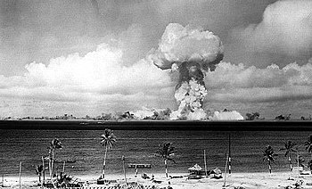 The airburst nuclear explosion of July 1, 1946. Photo taken from a tower on Bikini Island, 3.5 mi (5.6 km) away.