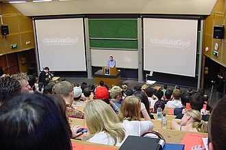 Sydney University Evangelical Union - Philip Jensen speaking at an Absolute God event, 2002.