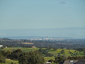 City of Playford - The Adelaide skyline from Hillbank in the City of Playford. The Adelaide city centre is located approximately 29.7km (18 miles) from the City of Playford.