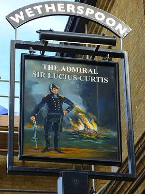 Lucius Curtis - Portrait of Sir Lucius Curtis (with the frigate HMS ''Magicienne'' burning in the background) on a pub sign in Southampton