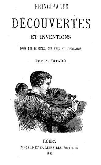 Adolphe Bitard - The phonograph. Frontispice des Principales Découvertes et Inventions par Adolphe Bitard (1880).