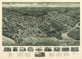 "Somers Point, New Jersey - Panoramic map of ""Somers-Point"" with list of landmarks ans images of several inset (1925)"