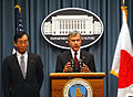 Agriculture Secretary Mike Johanns and Toshikatsu Matsuoka, Ag Minister of Japan answer questions from the media at the U. S. Department of Agriculture. (January 11, 2007) USDA 07di1208-0041.jpg