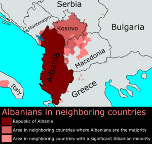 Greater Albania - Distribution of Albanians in the Balkans.