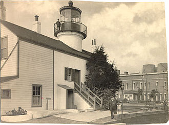 Fort Alcatraz - Lighthouse and citadel building, c. 1893