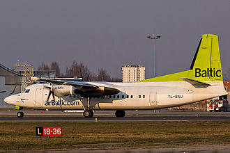 Fokker 50 - airBaltic Fokker 50 at Riga International Airport