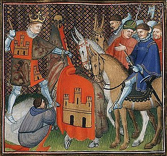 Alfonso XI of Castile - Depiction in an illumination of Froissart's chronicles, c. 1410.