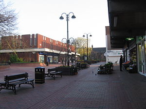 Bedworth - All Saints' Square – church at the far end. The almshouses are to the left out of picture.