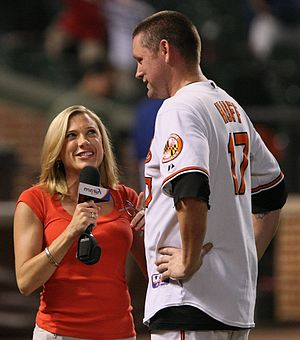 Amber Theoharis - Theoharis interviewing former Baltimore Oriole Aubrey Huff in 2009.