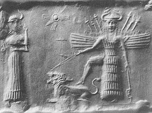 Goddess movement - Ancient Akkadian cylinder seal depicting the goddess Inanna resting her foot on the back of a lion while Ninshubur stands in front of her paying obeisance, c. 2334-2154 BC