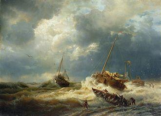 Andreas Achenbach - Image: Andreas Achenbach Schiffe im Sturm an der holländischen Küste