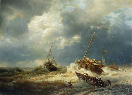 Andreas Achenbach - Schiffe im Sturm an der holländischen Küste