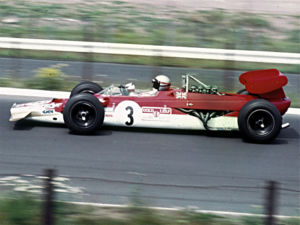 1969 German Grand Prix - Mario Andretti driving a Lotus 63 at the 1969 German Grand Prix.