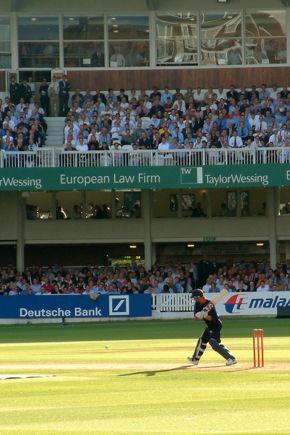 England batsman Andrew Strauss batting for Middlesex against Surrey