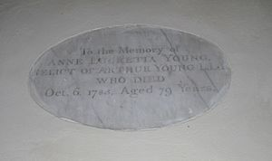Arthur Young (divine) - Memorial plaque for Anne Lucretia Young at All Saints' Church, Bradfield Combust