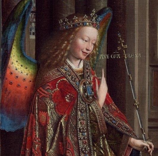 Annunciation (van Eyck, Washington) Gabriel