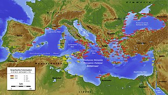 Mediterranean Sea -  Greek (red) and Phoenician (yellow) colonies in antiquity c. the 6th century BCE