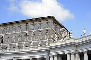 Apostolic Palace - A view of the Papal Apartments from Saint Peter's Square