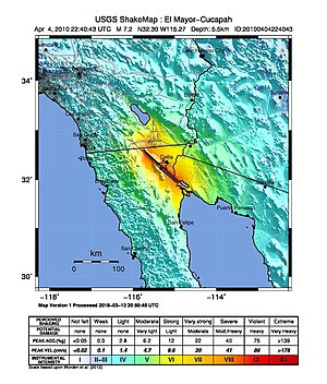 2010 Baja California earthquake - USGS shake map for the mainshock