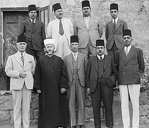 Arab Higher Committee - Members of the Arab Higher Committee, 1936. Front row from left to right: Raghib al-Nashashibi, Amin al-Husayni,  Ahmed Hilmi Pasha, Gen. Manager of the Jerusalem Arab Bank, Abdul Latif Bey Es-Salah, chairman of the Arab National Party, Mr. Alfred Roke,