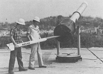 Arcas (rocket) - Arcas rocket being loaded into launch tube.