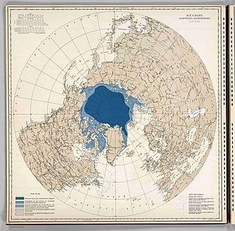 Arctic ice pack - Extent of Arctic ice, October 1946 (U.S. Navy)