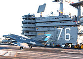 Argentine Navy Dassault Super Etendard jet on USS Ronald Reagan.jpg