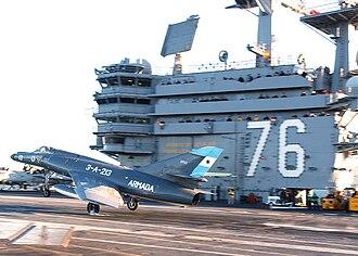 2da Escuadrilla Aeronaval de Caza y Ataque - Image: Argentine Navy Dassault Super Etendard jet on USS Ronald Reagan