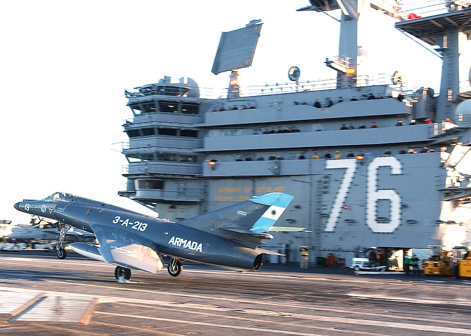 Argentine Navy Dassault Super Etendard jet on USS Ronald Reagan
