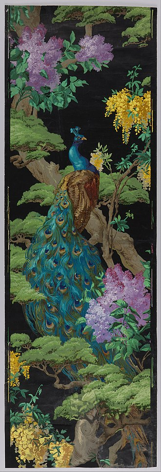 "Arthur Sanderson & Sons - ""The Cedar Tree"", a Sanderson wallpaper, 1910. Block-printed on machine-made paper"