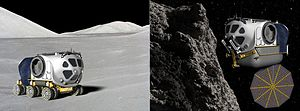 Space Exploration Vehicle - Artist concept of the Space Exploration Vehicle as a wheeled rover on the Moon (left) and as a free-flying spacecraft hovering over an asteroid's surface