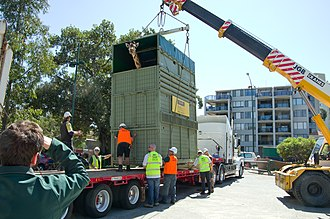 Transportation of animals - Asali in her 4.4 crate being loaded for transportation from Perth Zoo to Monarto Zoo a journey of 2200km