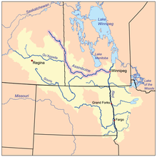 Assiniboine River Map Assiniboine River   Wikipedia Assiniboine River Map