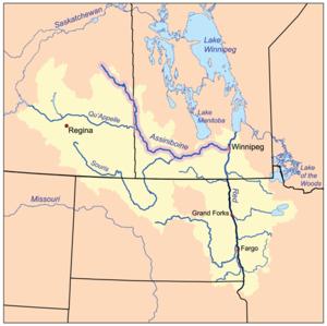 Assiniboine River - Image: Assiniboinerivermap